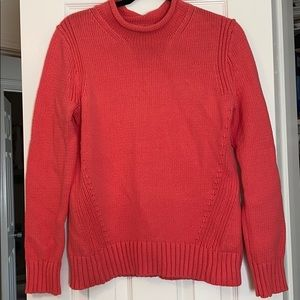 Coral Mock-Neck Knit Sweater